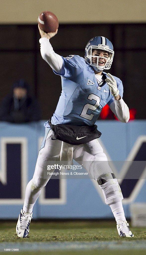 North Carolina quarterback Bryn Renner (2) releases a pass in the third quarter against Maryland on Saturday, November 24, 2012, at Kenen Stadium in Chapel Hill, North Carolina. The host Tar Heels won, 45-38.