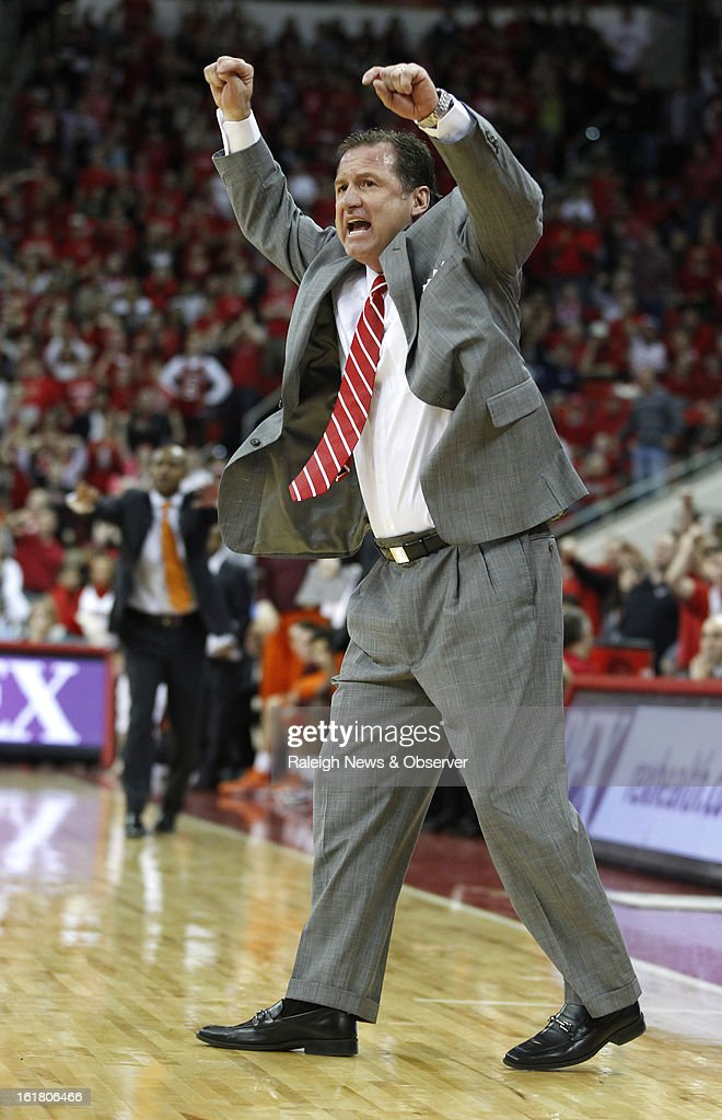 North Carolina State head coach Mark Gottfried argues that the shot by Tyler Lewis should count during overtime against Virginia Tech at PNC Arena in Raleigh, North Carolina, Saturday, February 16, 2013. N.C. State defeated Virginia Tech, 90-86.