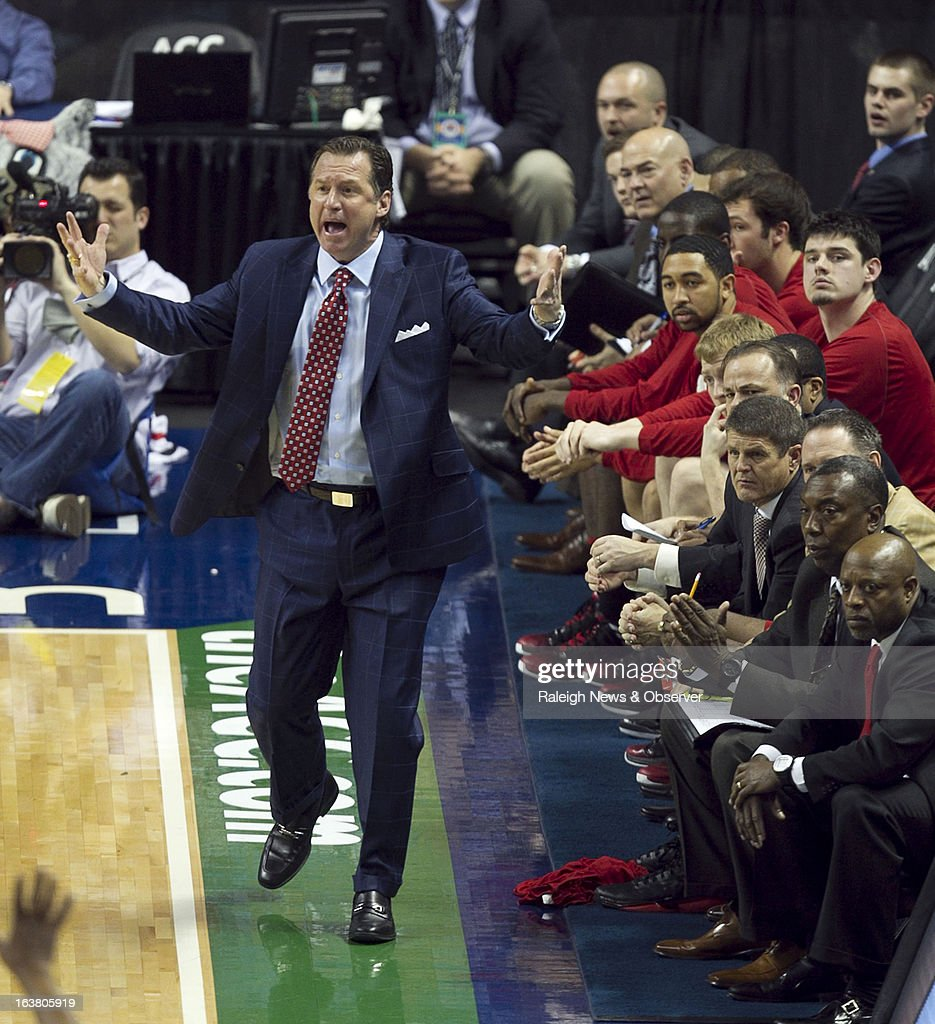 North Carolina State head coach Mark Gottfried reacts to a foul called against his team during the ACC Tournament semi-final game against Miami at the Greensboro Coliseum in Greensboro, North Carolina, Saturday, March 16, 2013. Miami defeated N.C. State, 81-71.