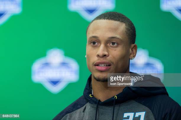 North Carolina State strong safety Josh Jones answers questions from the media during the NFL Scouting Combine on March 5 2017 at Lucas Oil Stadium...