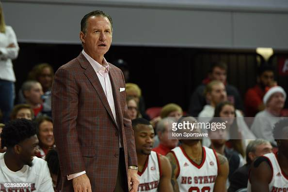 North Carolina State Wolfpack head coach Mark Gottfried looks in disbelief after a turnover during the game between the Tennessee State Tigers and...