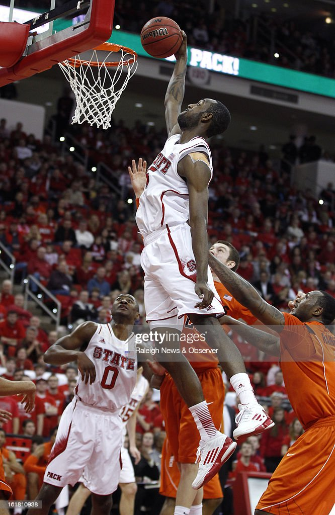 North Carolina State's C.J. Leslie (5) dunks in the first half against Virginia Tech at PNC Arena in Raleigh, North Carolina, Saturday, February 16, 2013. N.C. State defeated Virginia Tech in overtime, 90-86.