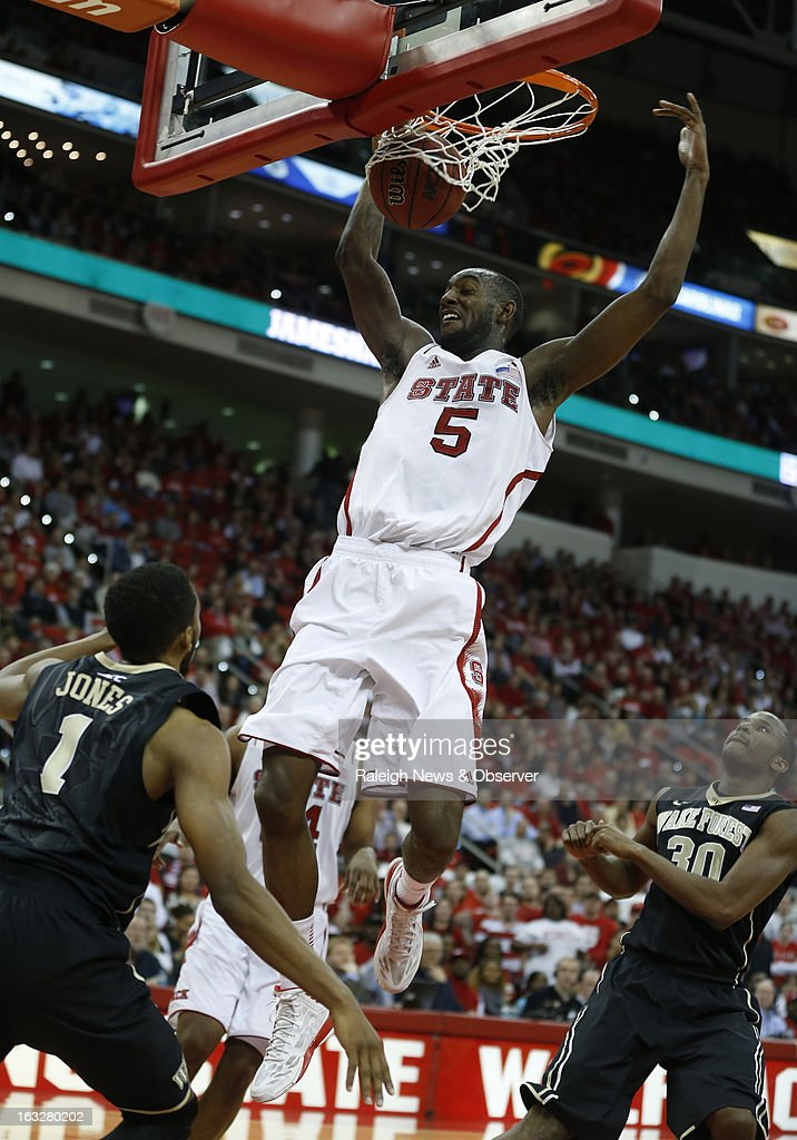 North Carolina State's C.J. Leslie (5) slams in two during the second half against Wake Forest at PNC Arena in Raleigh, North Carolina, on Wednesday, March 6, 2013. The host Wolfpack won, 81-66.