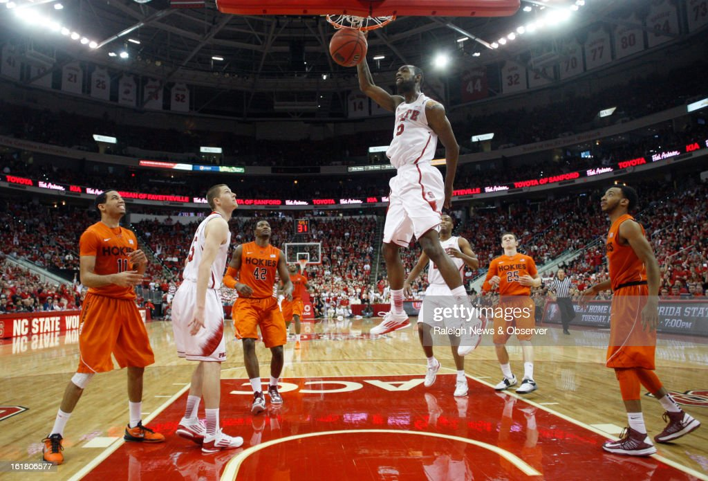 North Carolina State's C.J. Leslie (5) slams in two in the second half against Virginia Tech at PNC Arena in Raleigh, North Carolina, Saturday, February 16, 2013. N.C. State defeated Virginia Tech in overtime, 90-86.