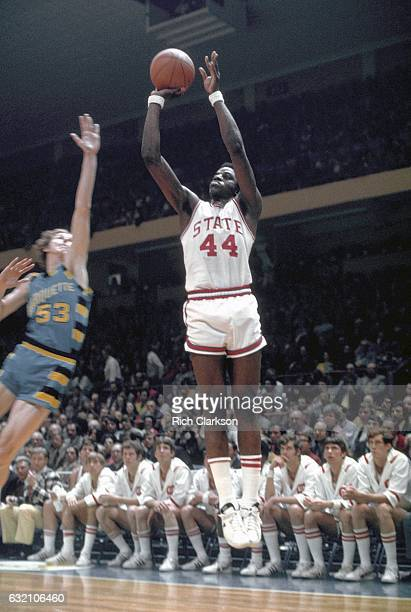 North Carolina State's David Thompson and Marquette forward Rick Campbell during the NCAA Men's National Basketball Final Four championship game held...