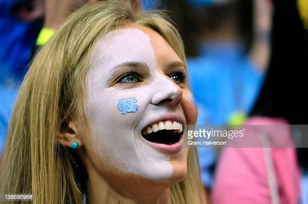 North Carolina Tar Heels fan cheers against the Duke Blue Devils at the Dean Smith Center on February 8 2012 in Chapel Hill North Carolina Duke won...