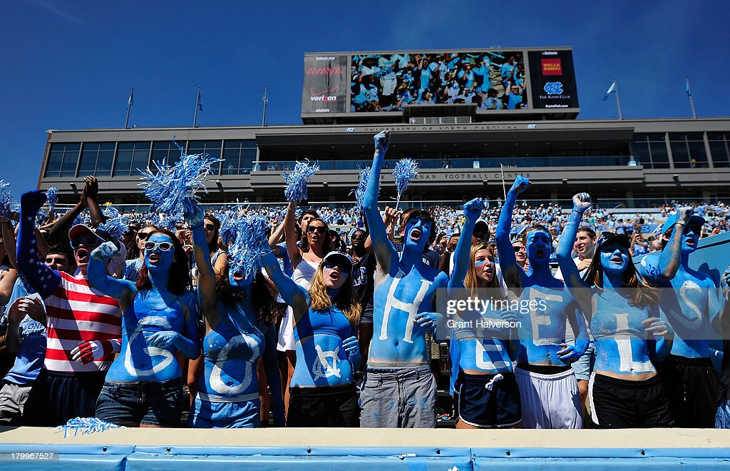 North Carolina Tar Heels fans cheer during a win over the Middle Tennessee State Blue Raiders at Kenan Stadium on September 7, 2013 in Chapel Hill, North Carolina.