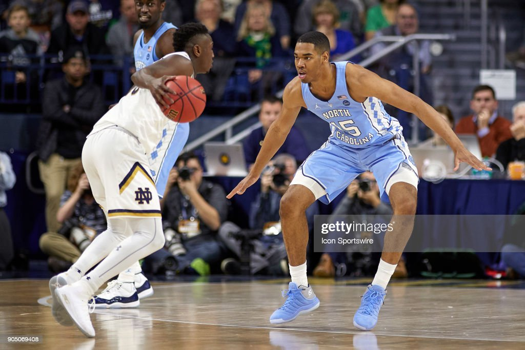 North Carolina Tar Heels forward Garrison Brooks (15) defends Notre Dame Fighting Irish guard TJ Gibbs (10) during the college basketball game between the North Carolina Tar Heels and the Notre Dame Fighting Irish on January 13, 2018, at the Purcell Pavilion in South Bend, IN. The North Carolina Tar Heels defeated the Notre Dame Fighting Irish by the score of 69 to 68.