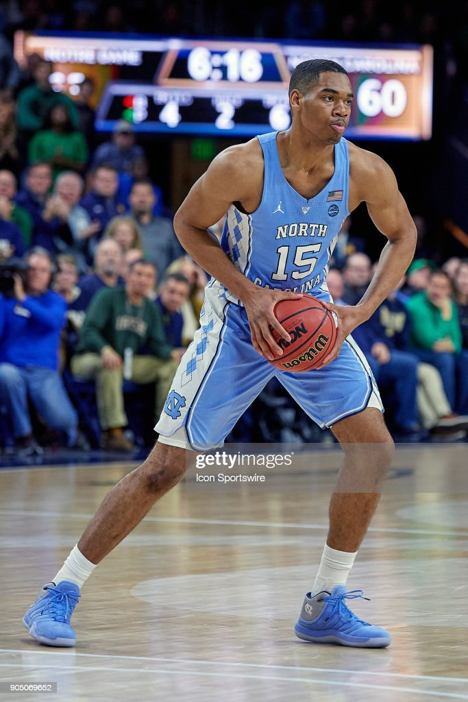 North Carolina Tar Heels forward Garrison Brooks (15) handles the basketball during the college basketball game between the North Carolina Tar Heels and the Notre Dame Fighting Irish on January 13, 2018, at the Purcell Pavilion in South Bend, IN. The North Carolina Tar Heels defeated the Notre Dame Fighting Irish by the score of 69 to 68.