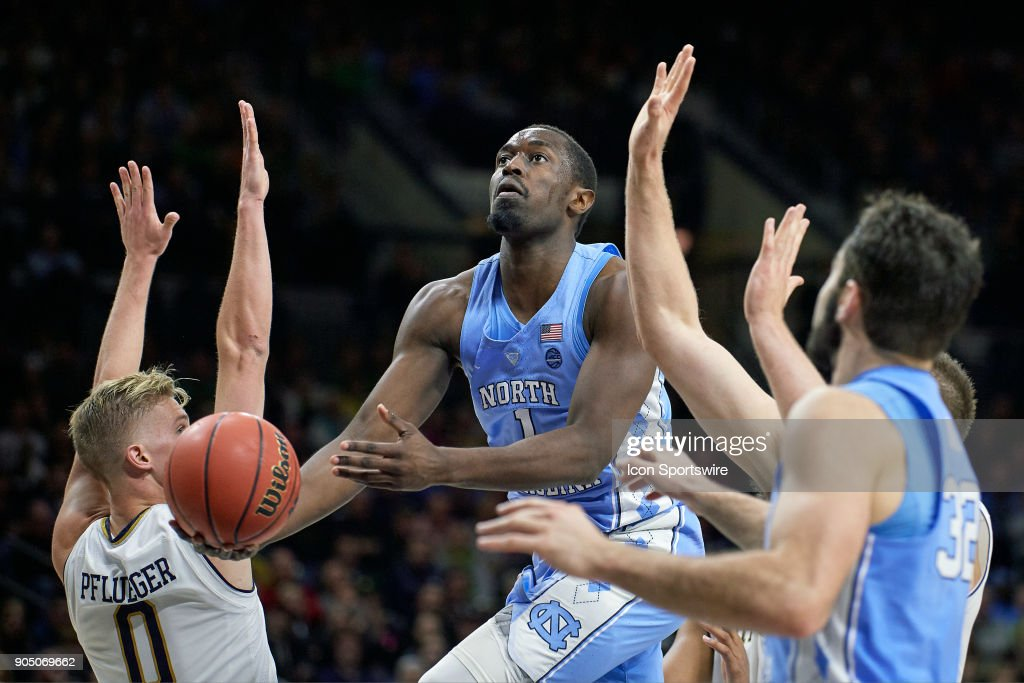 North Carolina Tar Heels forward Theo Pinson (1) battles for a layup during the college basketball game between the North Carolina Tar Heels and the Notre Dame Fighting Irish on January 13, 2018, at the Purcell Pavilion in South Bend, IN. The North Carolina Tar Heels defeated the Notre Dame Fighting Irish by the score of 69 to 68.