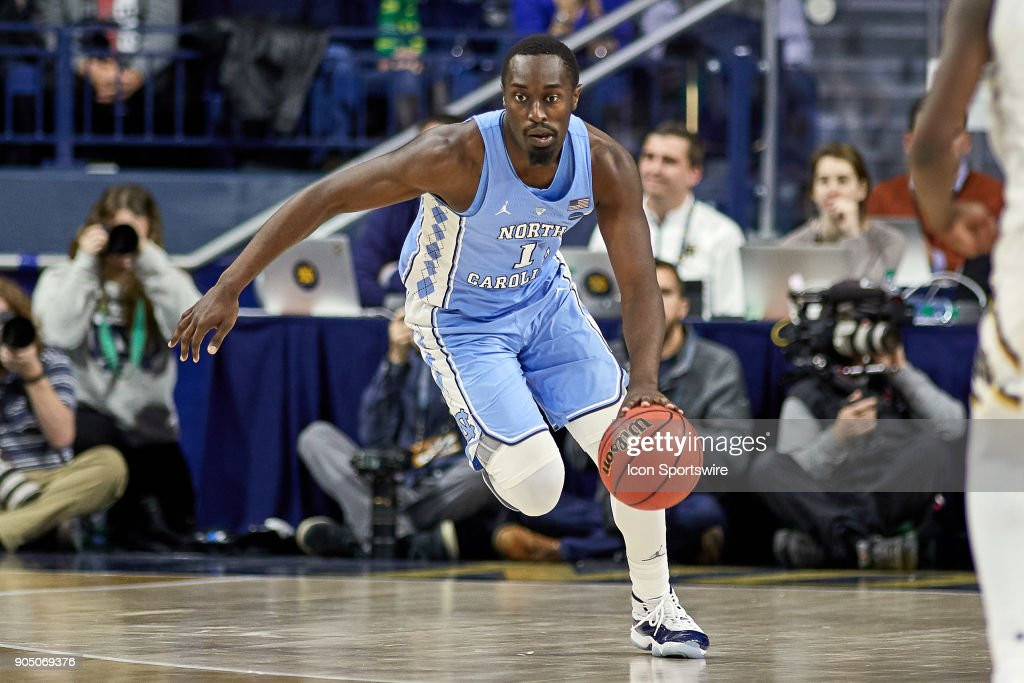 North Carolina Tar Heels forward Theo Pinson (1) dribbles the basketball during the college basketball game between the North Carolina Tar Heels and the Notre Dame Fighting Irish on January 13, 2018, at the Purcell Pavilion in South Bend, IN. The North Carolina Tar Heels defeated the Notre Dame Fighting Irish by the score of 69 to 68.