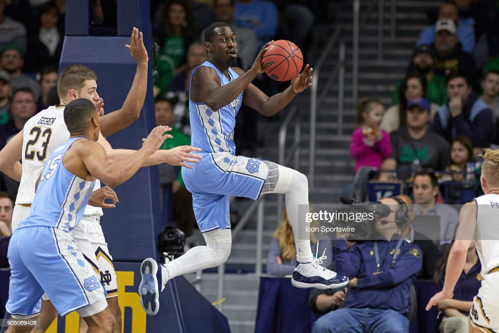 North Carolina Tar Heels forward Theo Pinson (1) handles the basketball during the college basketball game between the North Carolina Tar Heels and the Notre Dame Fighting Irish on January 13, 2018, at the Purcell Pavilion in South Bend, IN. The North Carolina Tar Heels defeated the Notre Dame Fighting Irish by the score of 69 to 68.