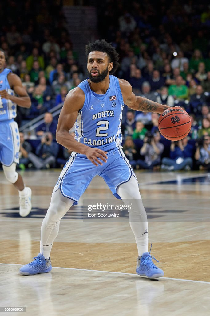 North Carolina Tar Heels guard Joel Berry II (2) dribbles the basketball during the college basketball game between the North Carolina Tar Heels and the Notre Dame Fighting Irish on January 13, 2018, at the Purcell Pavilion in South Bend, IN. The North Carolina Tar Heels defeated the Notre Dame Fighting Irish by the score of 69 to 68.