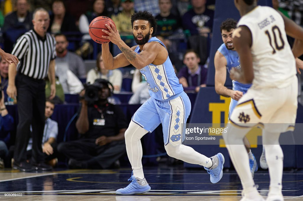North Carolina Tar Heels guard Joel Berry II (2) handles the basketball during the college basketball game between the North Carolina Tar Heels and the Notre Dame Fighting Irish on January 13, 2018, at the Purcell Pavilion in South Bend, IN. The North Carolina Tar Heels defeated the Notre Dame Fighting Irish by the score of 69 to 68.