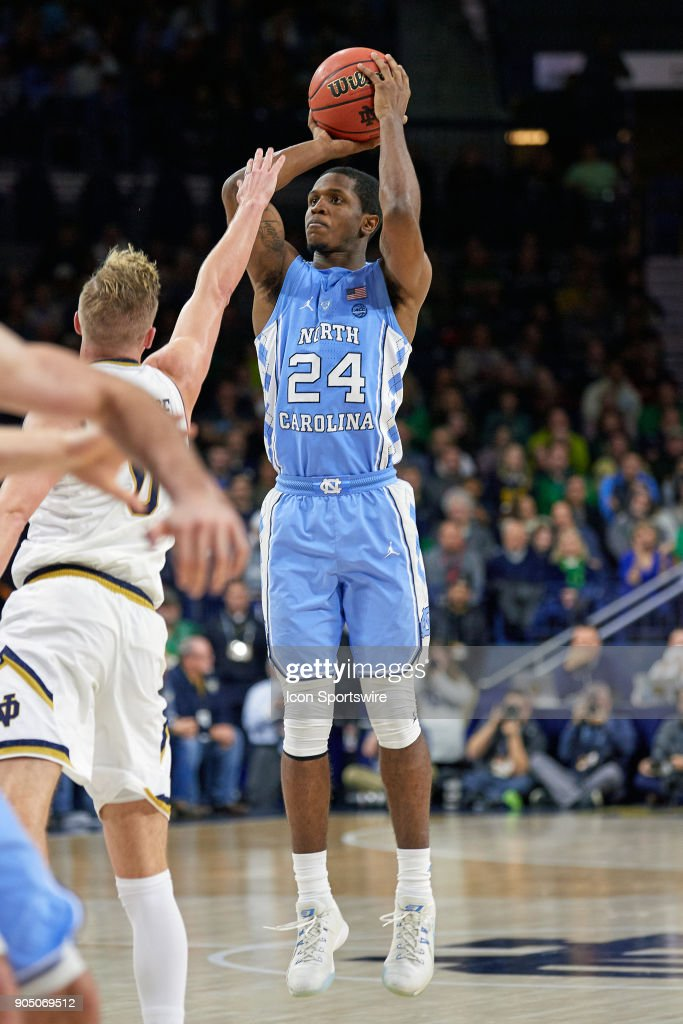 North Carolina Tar Heels guard Kenny Williams (24) attempts a shot during the college basketball game between the North Carolina Tar Heels and the Notre Dame Fighting Irish on January 13, 2018, at the Purcell Pavilion in South Bend, IN. The North Carolina Tar Heels defeated the Notre Dame Fighting Irish by the score of 69 to 68.