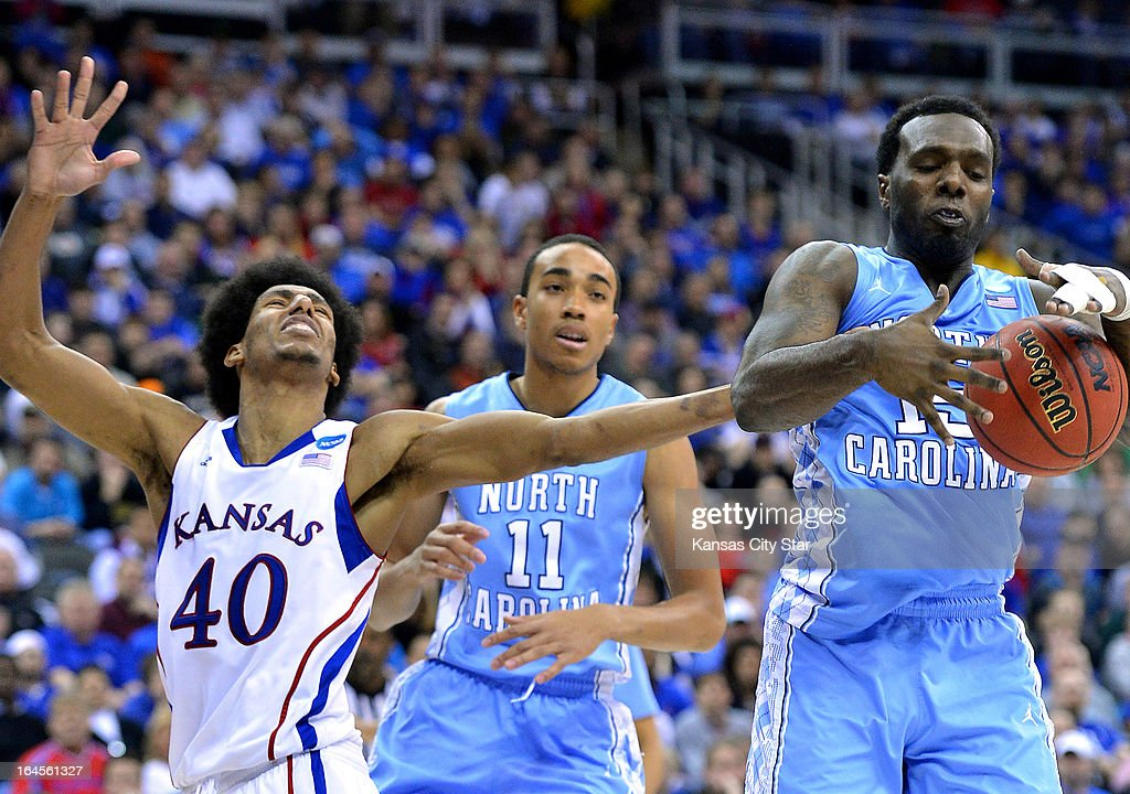 North Carolina Tar Heels guard PJ Hairston takes the rebound away from Kansas Jayhawks forward Kevin Young during firsthalf action in the third round...