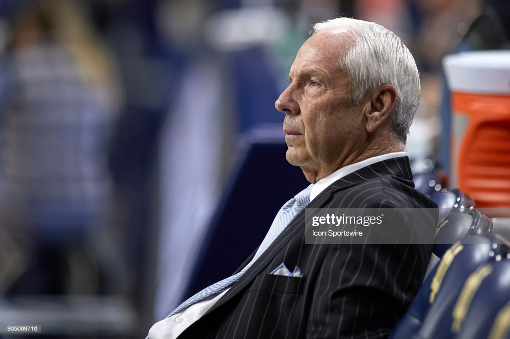 North Carolina Tar Heels head coach Roy Williams looks on during the college basketball game between the North Carolina Tar Heels and the Notre Dame Fighting Irish on January 13, 2018, at the Purcell Pavilion in South Bend, IN. The North Carolina Tar Heels defeated the Notre Dame Fighting Irish by the score of 69 to 68.