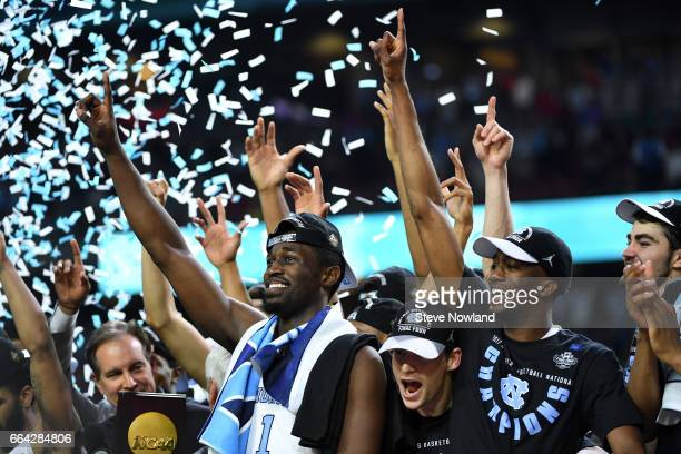 North Carolina Tar Heels players celebrate as confetti falls during the 2017 NCAA Men's Final Four National Championship game against the Gonzaga...