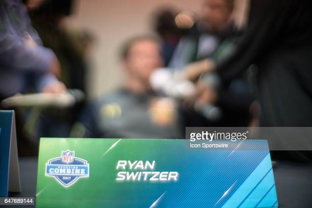 North Carolina wide receiver Ryan Switzer answers questions to members of the press during the NFL Scouting Combine on March 3 2017 at Lucas Oil...
