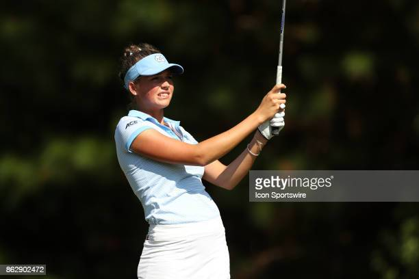 North Carolina's Ava Bergner on the 18th tee during the third and final round of the Ruth's Chris Tar Heel Invitational Women's Golf Tournament on...