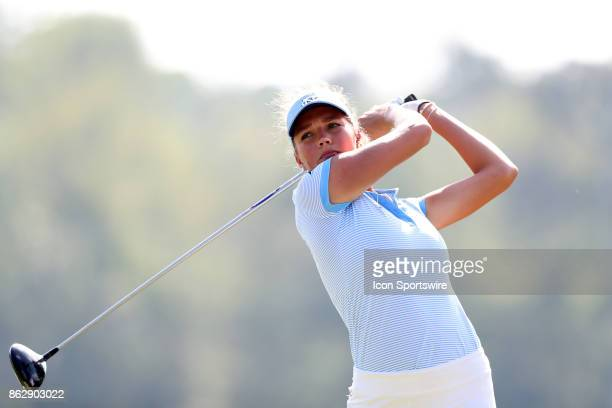 North Carolina's Ava Bergner on the 1st tee during the third and final round of the Ruth's Chris Tar Heel Invitational Women's Golf Tournament on...