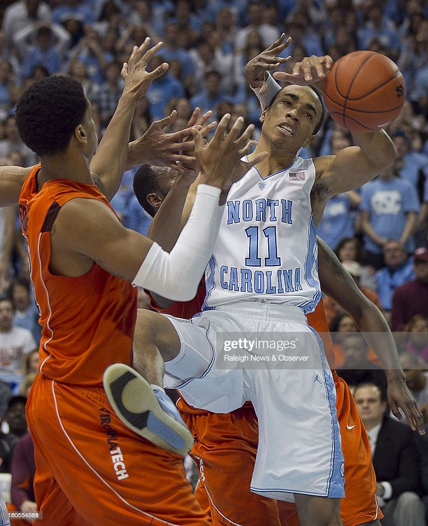 North Carolina's Brice Johnson (11) battles for an offensive rebound in the first half against Virginia Tech at the Smith Center in Chapel Hill, North Carolina, Saturday, February 2, 2013. North Carolina won in OT, 72-60.