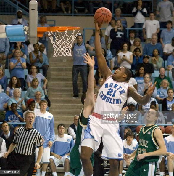 North Carolina's Deon Thompson drives to the basket against William Mary during the opening round of the NIT Tournament at Carmichael Arena in Chapel...