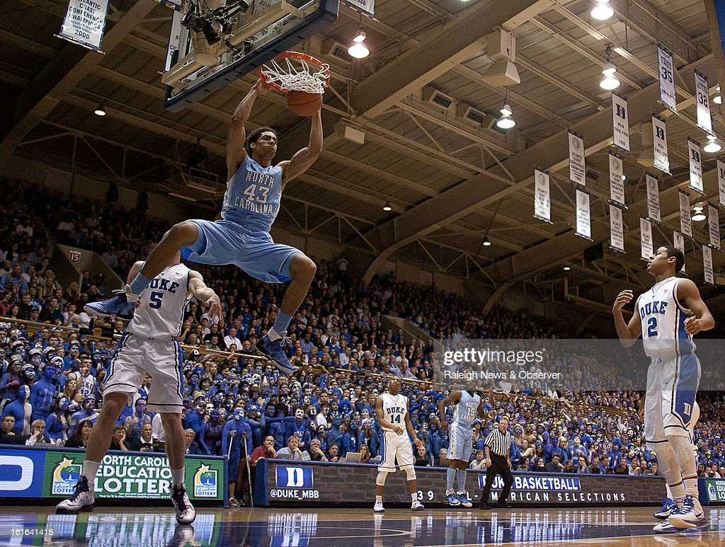 North Carolina's James Michael McAdoo (43) gets an easy first-half dunk against Duke's Mason Plumlee (5) at Cameron Indoor Stadium in Durham, North Carolina, on Wednesday, February 13, 2013.