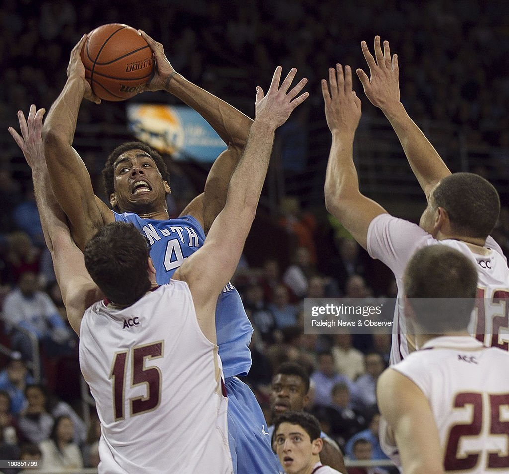 North Carolina's James Michael McAdoo (43) muscles over Boston College's Andrew Van Nest (15) for a shot during the first half at the Conte Forum in Chestnut Hill, Massachusetts, Tuesday, January 29, 2013.