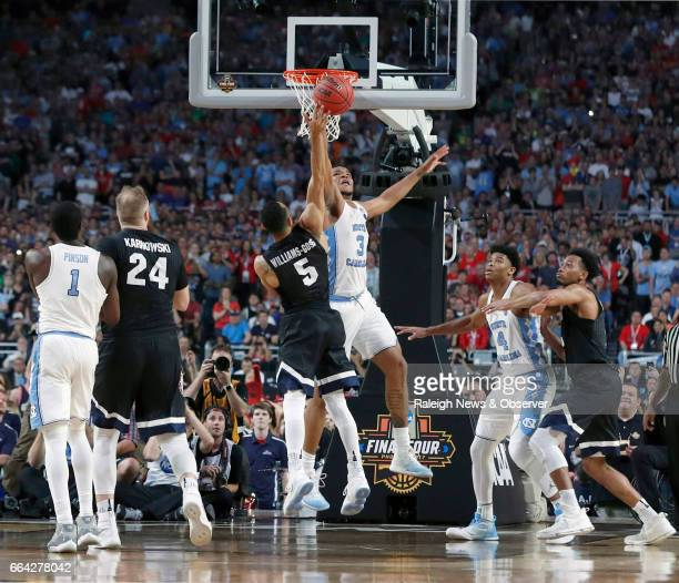 North Carolina's Kennedy Meeks blocks Gonzaga's Nigel WilliamsGoss in the final seconds of UNC's victory over Gonzaga in the NCAA Division I men's...