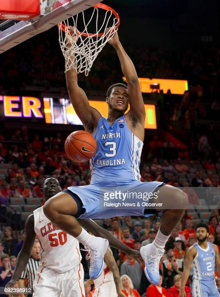 North Carolina's Kennedy Meeks dunks over Clemson's Sidy Djitte during the first half on Tuesday Jan 3 at Littlejohn Coliseum in Clemson SC