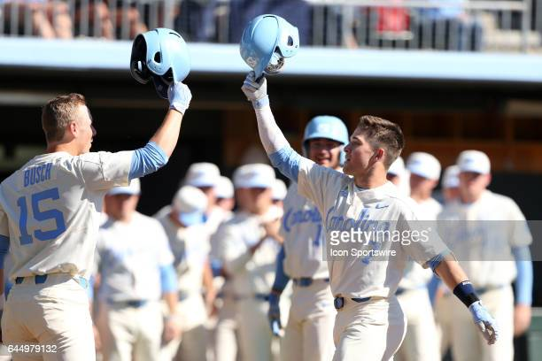 North Carolina's Logan Warmoth celebrates his home run with Michael Busch The University of North Carolina Tar Heels hosted the University of...