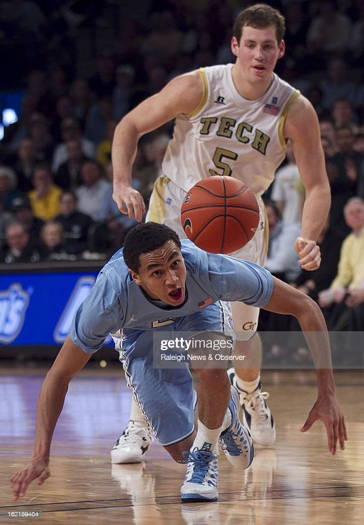 North Carolina's Marcus Paige keeps his eyes on the ball he lost after colliding with Georgia Tech's Daniel Miller (5) during the second half on Tuesday, February 19, 2013, at McCamish Center in Atlanta, Georgia. North Carolina won, 70-58.