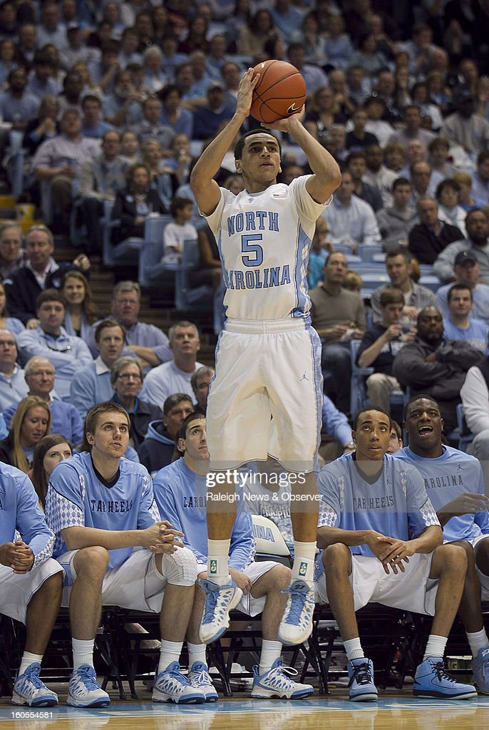 North Carolina's Marcus Paige (5) launches a shot in the second half against Virginia Tech at the Smith Center in Chapel Hill, North Carolina, Saturday, February 2, 2013. North Carolina won in OT, 72-60.