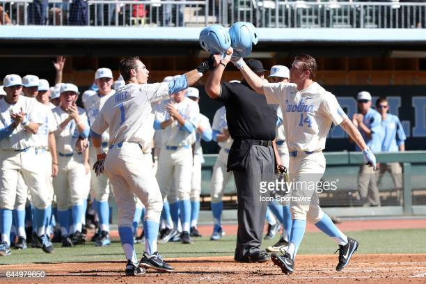 North Carolina's Tyler Lynn celebrates his home run with Brandon Riley The University of North Carolina Tar Heels hosted the University of Kentucky...