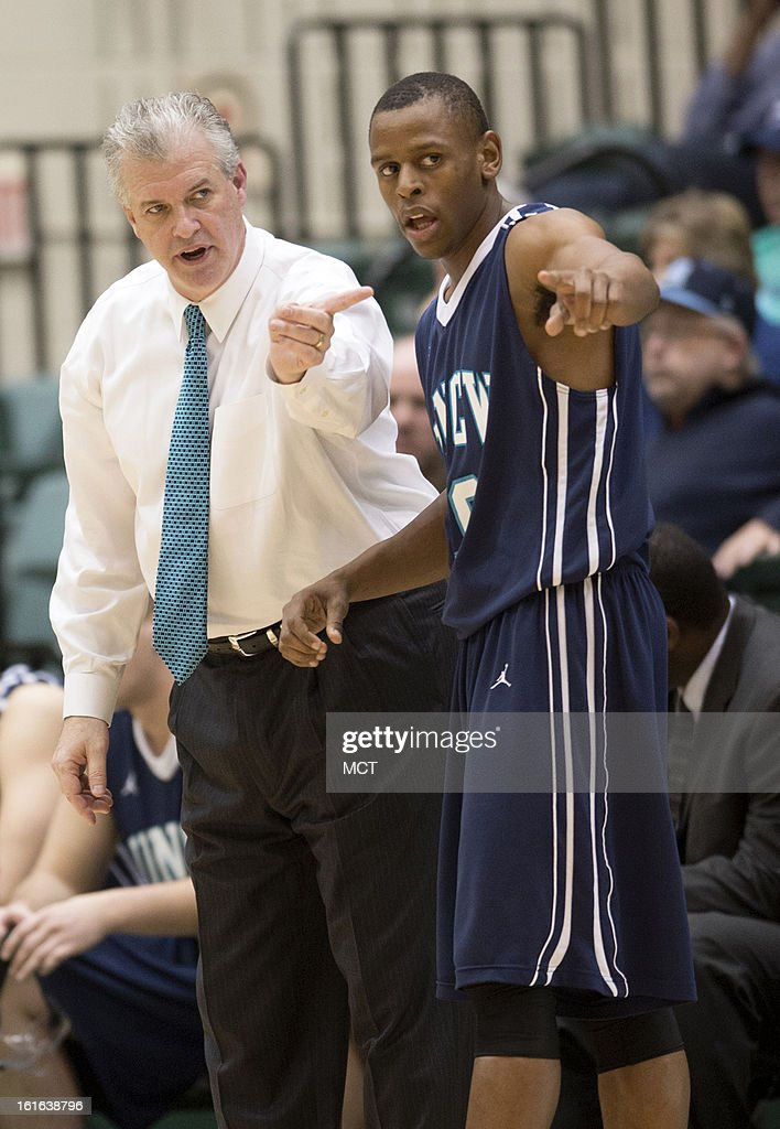 North Carolina-Wilmington head coach Buzz Peterson and North Carolina-Wilmington guard Freddie Jackson (10) have a word during the second half against William & Mary at Kaplan Arena in Williamsburg, Virginia, Wednesday, February 13, 2013. William & Mary defeated UNCW, 92-86.