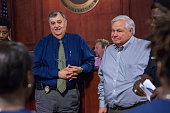 North Charleston Police Chief Eddie Driggers and Mayor Keith Summey speak during a City Council meeting on April 9 2015 in North Charleston South...