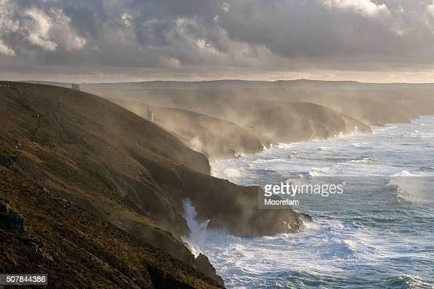 North Cornish coast in a storm with tin mine
