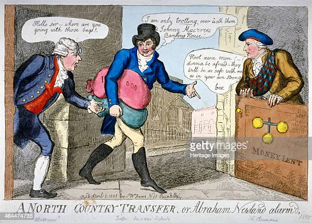'A North Country Transfer' 1805 Trotter Paymaster of the Navy leaving the Bank of England with two sacks Abraham Newland appears through the door...