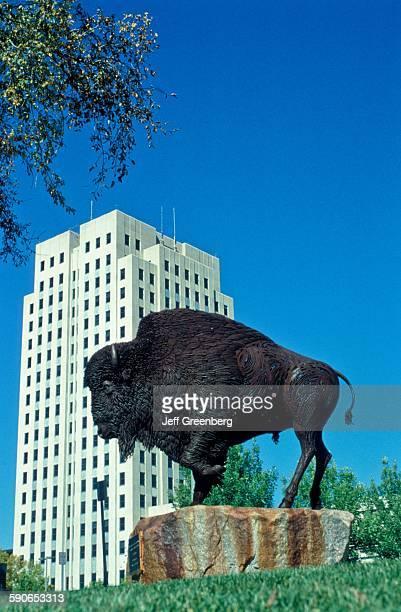 North Dakota Bismarck Bison Statue And State Capitol Building