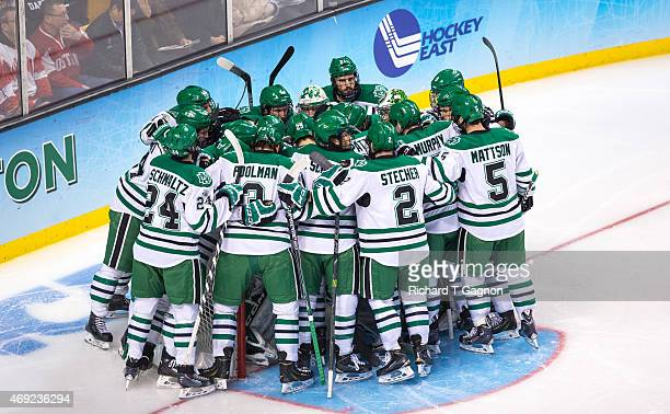 North Dakota during the 2015 NCAA Division I Men's Hockey Frozen Four Championship Semifinal against the Boston University Terriers at TD Garden on...