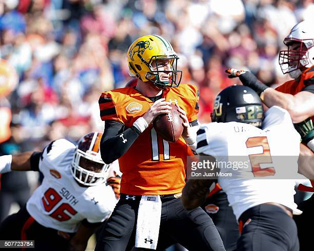 North Dakota State Quarterback Carson Wentz of the North Team on a pass play during the 2016 Resse's Senior Bowl at LaddPeebles Stadium on January 30...