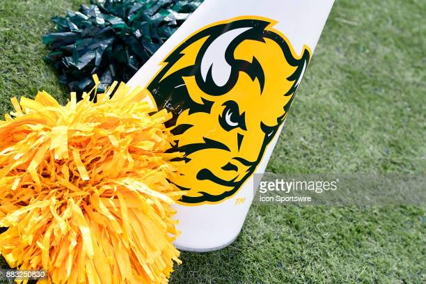 North Dakota State University Bison cheerleader megaphone and noms rest on the sideline as the Bison play the Indiana State University Sycamores in a...