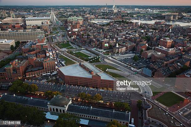 North End and Old North Church, Quincy Market and Leonard Zakim Bridge at dawn, Boston, Massachusetts, USA