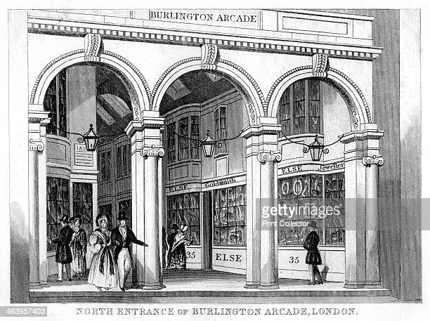 North entrance of Burlington Arcade Westminster London 19th century Situated off Piccadilly Burlington Arcade was designed in 1819 by Samuel Ware It...