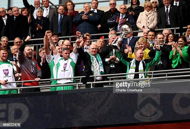 North Ferriby manager Billy Heath lifts the FA Trophy during the The FA Carlsberg Trophy Final match between North Ferriby United and Wrexham at...