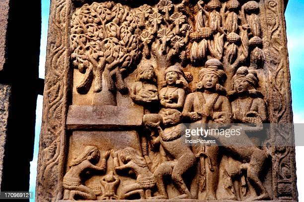 North gate of stupa Sanchi Madhya Pradesh India