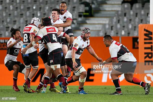 North Harbour players celebrate winning the Mitre 10 Championships Final match between Otago and North Harbour at Forsyth Barr Stadium on October 28...