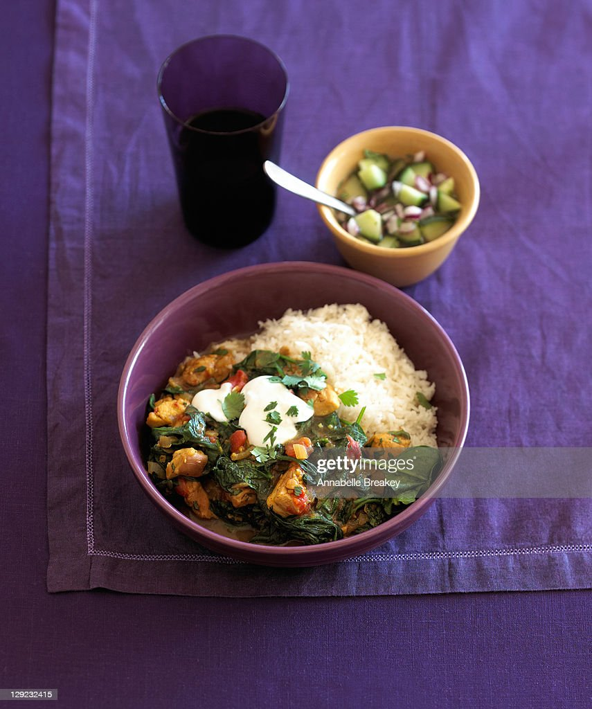 North Indian-style Spinach Chicken : Stock Photo