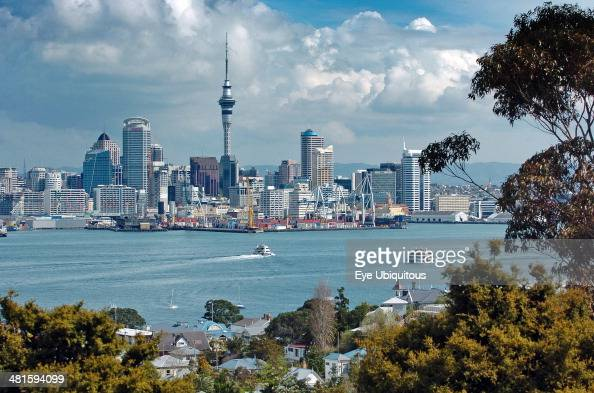 North Island Auckland General View Of Auckland Skyline Showing Auckland Harbor And The Residential District Of Devenport Picture Taken From The Mount...